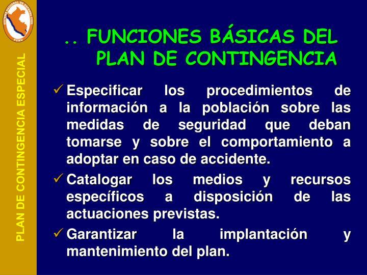 .. FUNCIONES BÁSICAS DEL PLAN DE CONTINGENCIA