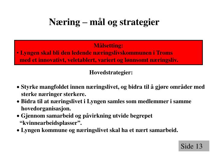 Næring – mål og strategier