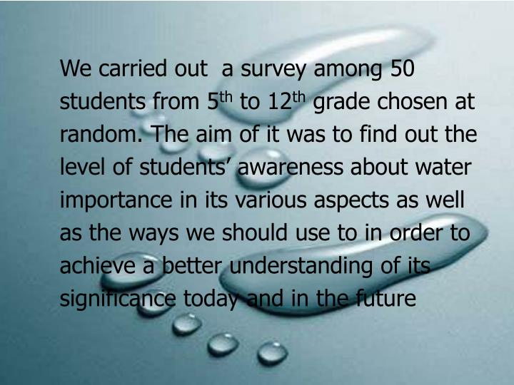 We carried out  a survey among 50