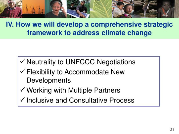 IV. How we will develop a comprehensive strategic framework to address climate change