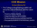 coe mission strategic planning fac