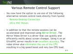 various remote control support