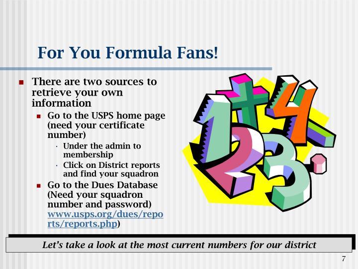 For You Formula Fans!