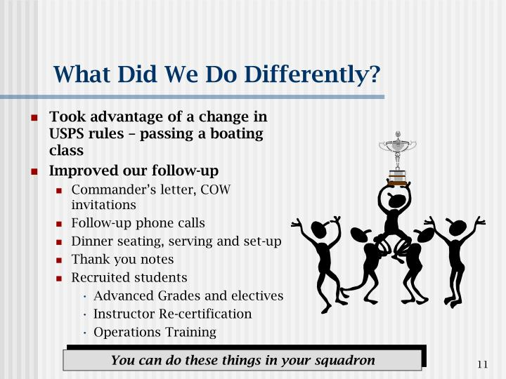 What Did We Do Differently?