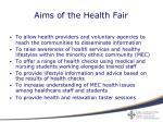 aims of the health fair