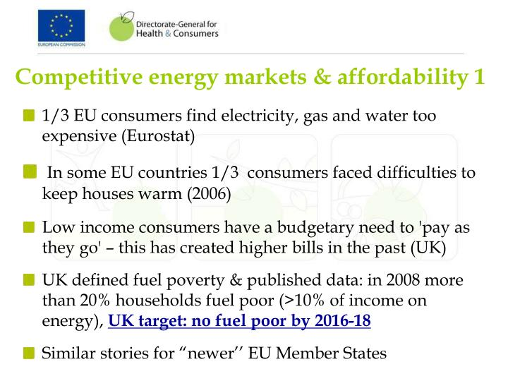 Competitive energy markets & affordability 1