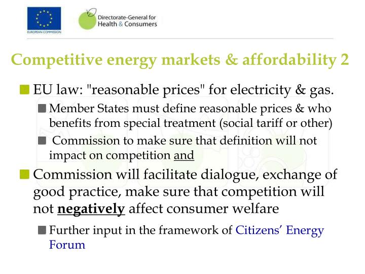 Competitive energy markets & affordability 2