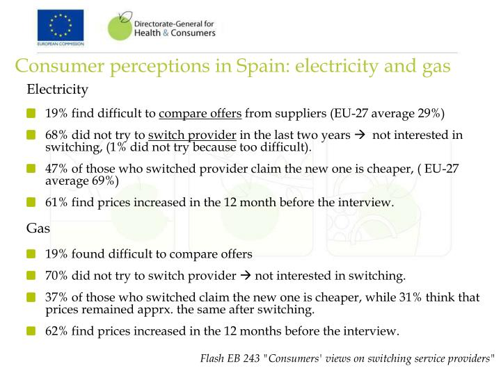 Consumer perceptions in Spain: electricity and gas