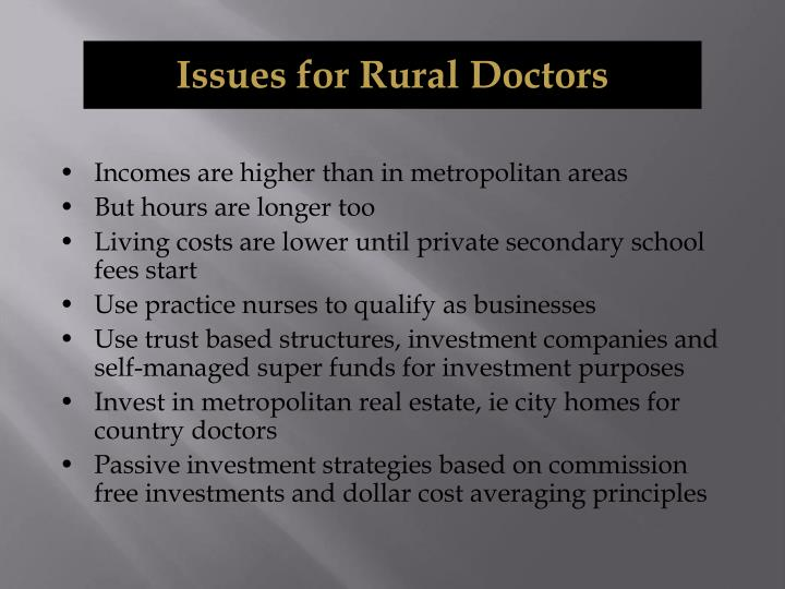 Issues for Rural Doctors