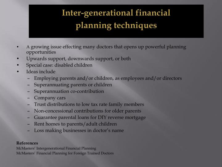 Inter-generational financial