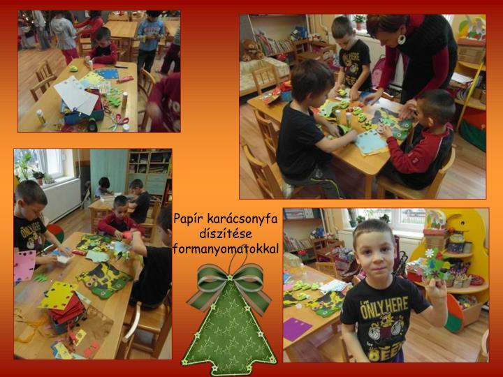 Papír karácsonyfa díszítése formanyomatokkal