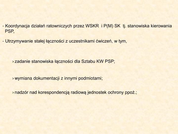 Koordynacja działań ratowniczych przez WSKR  i P(M) SK  tj. stanowiska kierowania
