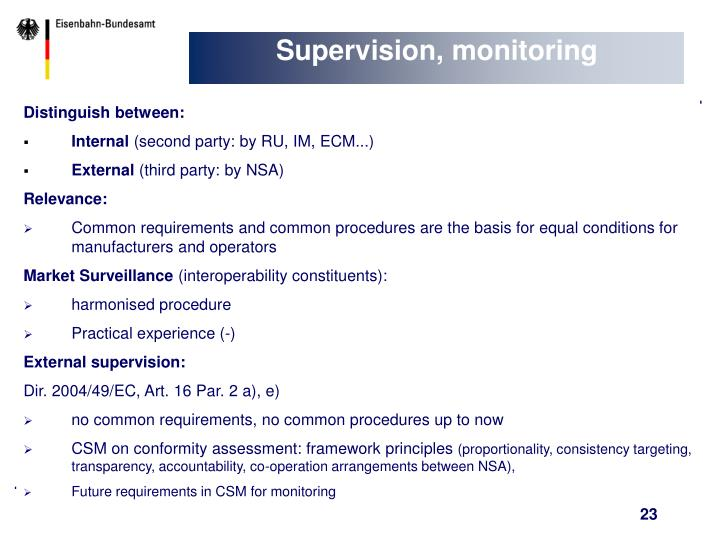 Supervision, monitoring