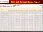 daily call timings status report