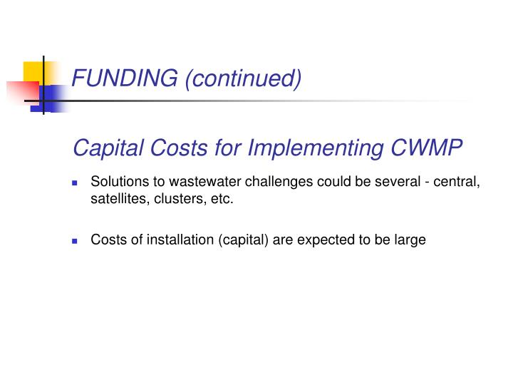 FUNDING (continued)