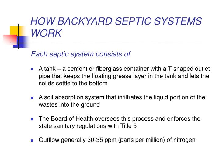 HOW BACKYARD SEPTIC SYSTEMS