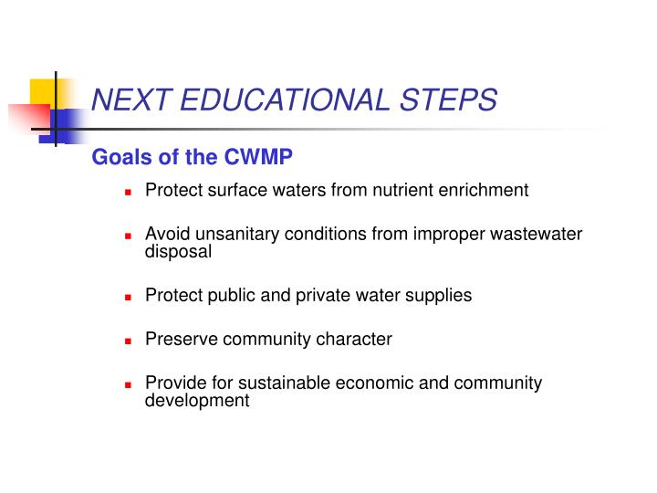 NEXT EDUCATIONAL STEPS