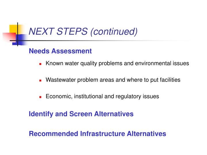 NEXT STEPS (continued)