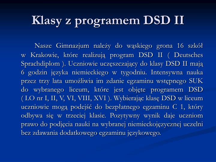 Klasy z programem dsd ii