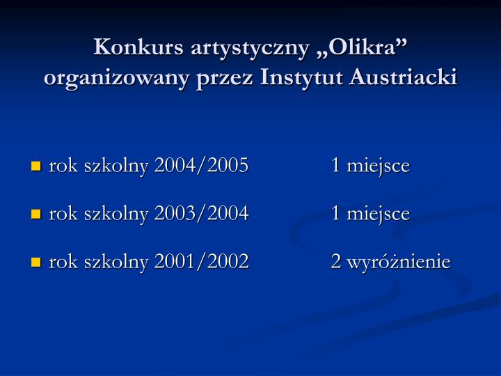 """Konkurs artystyczny """"Olikra"""""""