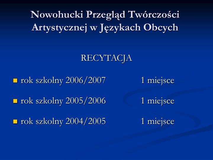 Nowohucki Przegląd Twórczości Artystycznej w Językach Obcych