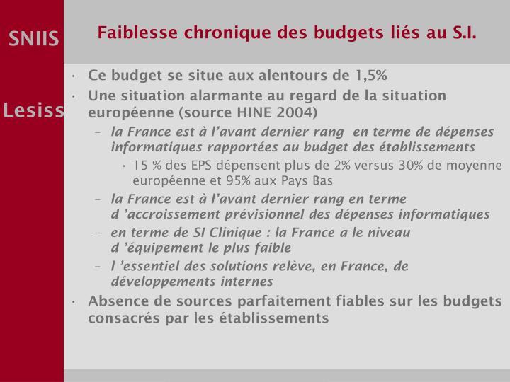 Faiblesse chronique des budgets liés au S.I.
