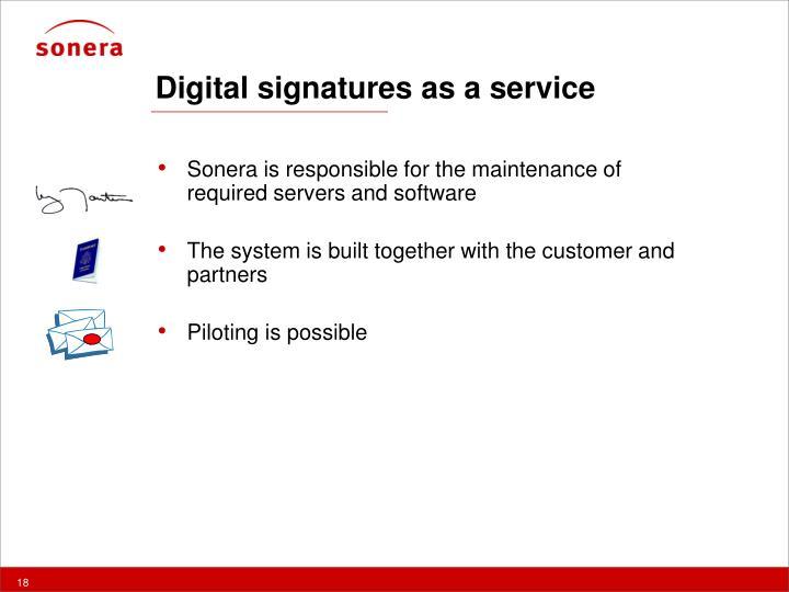 Digital signatures as a service