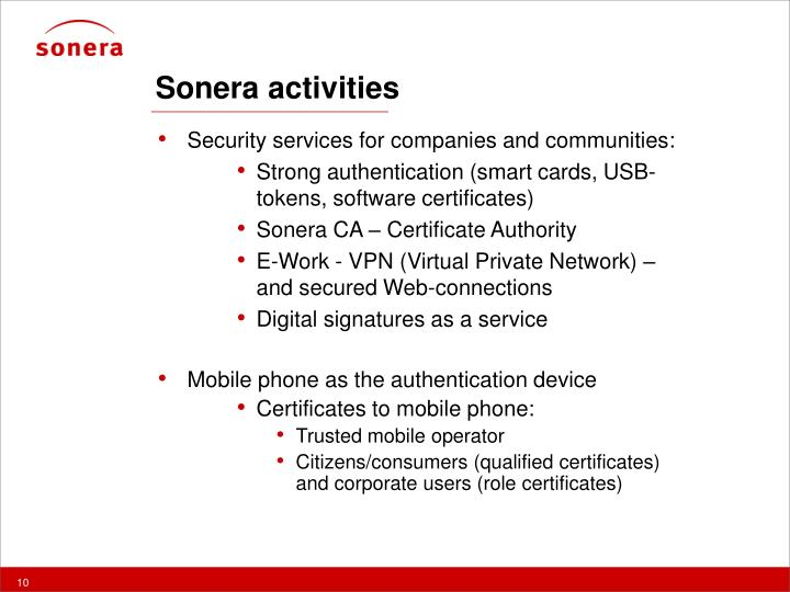 Sonera activities