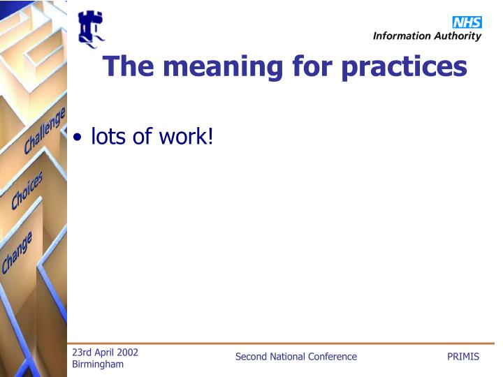 The meaning for practices
