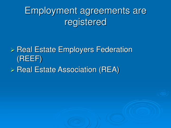 Employment agreements are registered