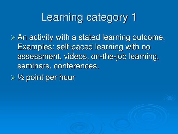 Learning category 1