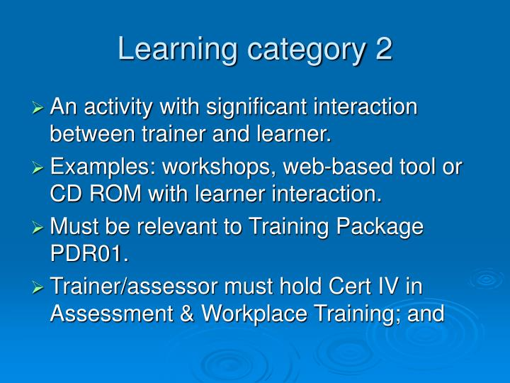 Learning category 2