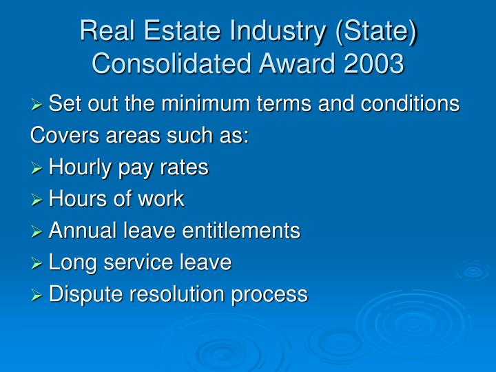 Real Estate Industry (State) Consolidated Award 2003