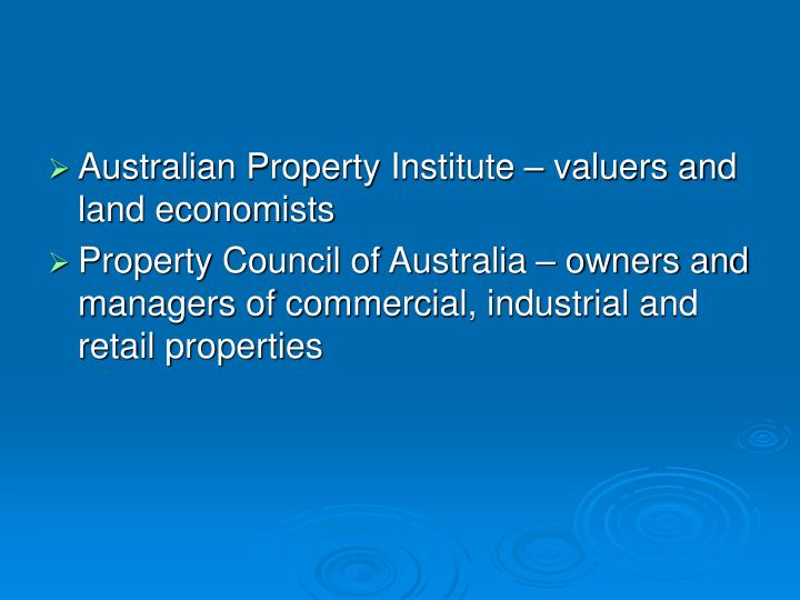 Australian Property Institute – valuers and land economists