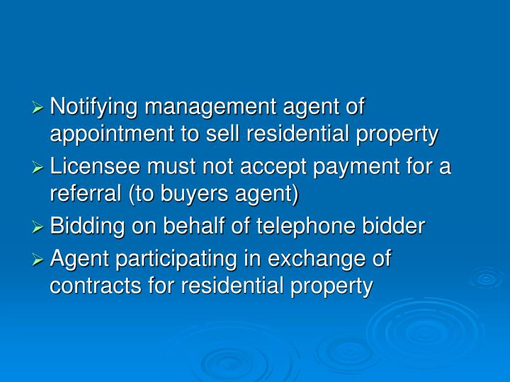 Notifying management agent of appointment to sell residential property