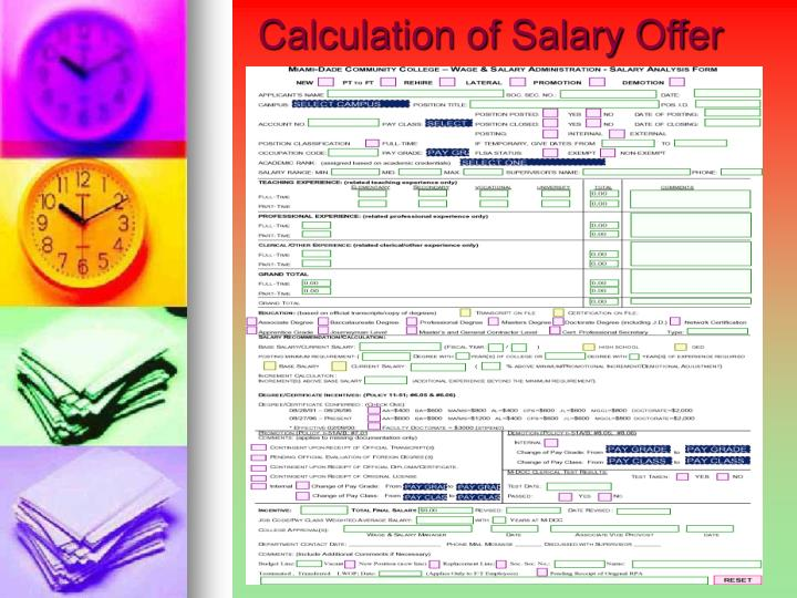 Calculation of Salary Offer