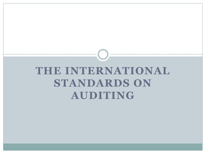 the international standards on auditing n.