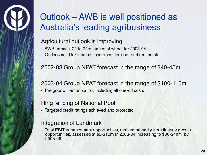 Outlook – AWB is well positioned as Australia's leading agribusiness