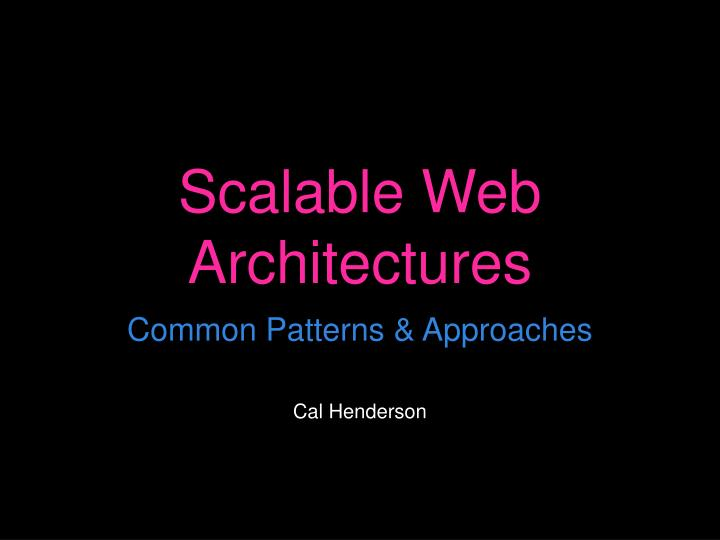 scalable web architectures n.