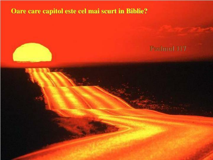 Oare care capitol este cel mai scurt in Biblie?