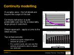 continuity modelling