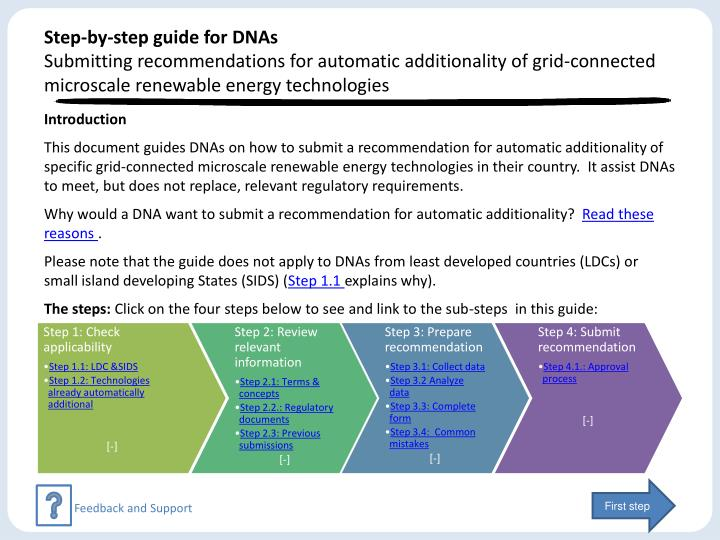 Step-by-step guide for DNAs