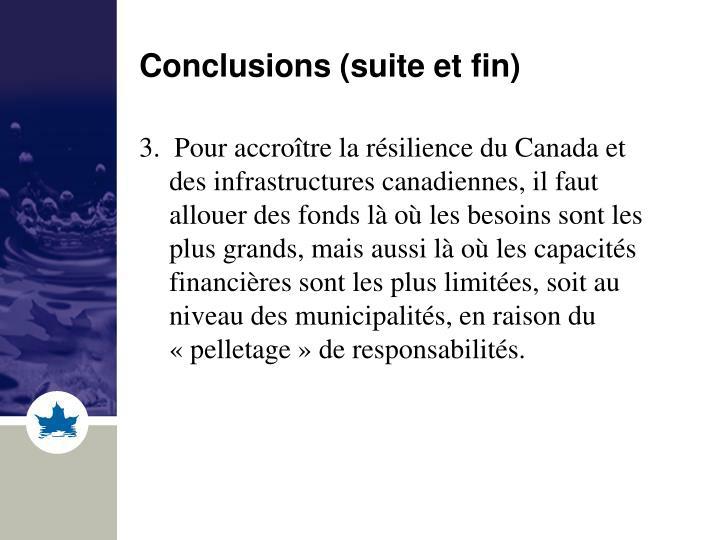 Conclusions (suite et fin)