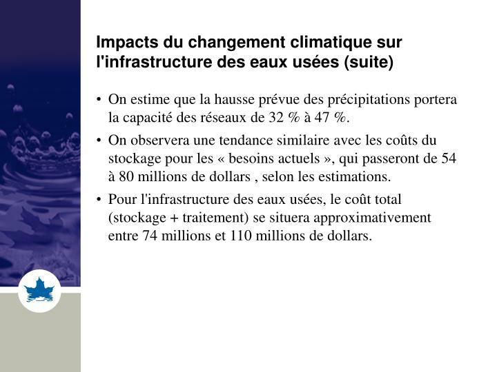 Impacts du changement climatique sur l'infrastructure des eaux usées (suite)