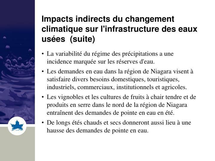 Impacts indirects du changement climatique sur l'infrastructure des eaux usées  (suite)