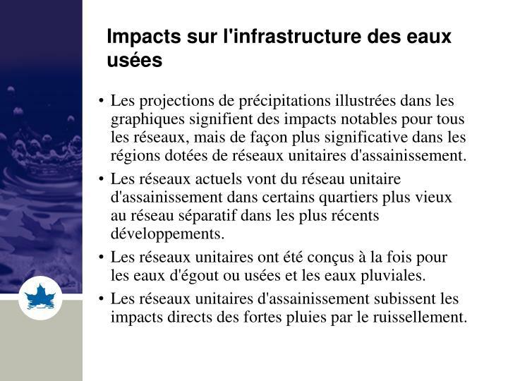 Impacts sur l'infrastructure des eaux usées