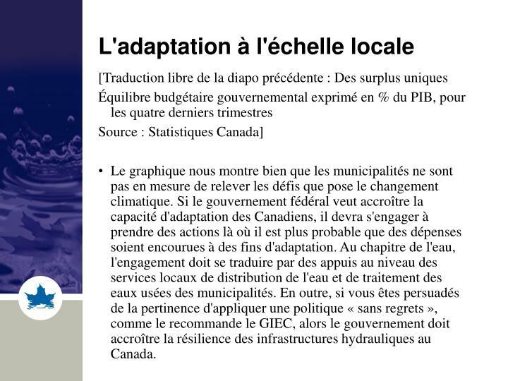 L'adaptation à l'échelle locale