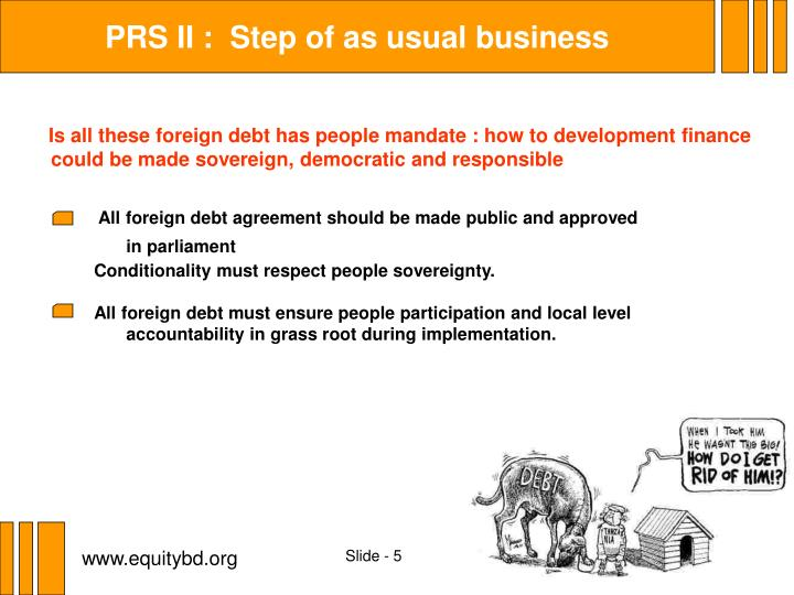 PRS II :  Step of as usual business