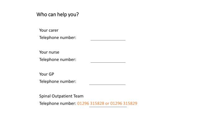 Who can help you?