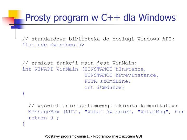 Prosty program w C++ dla Windows